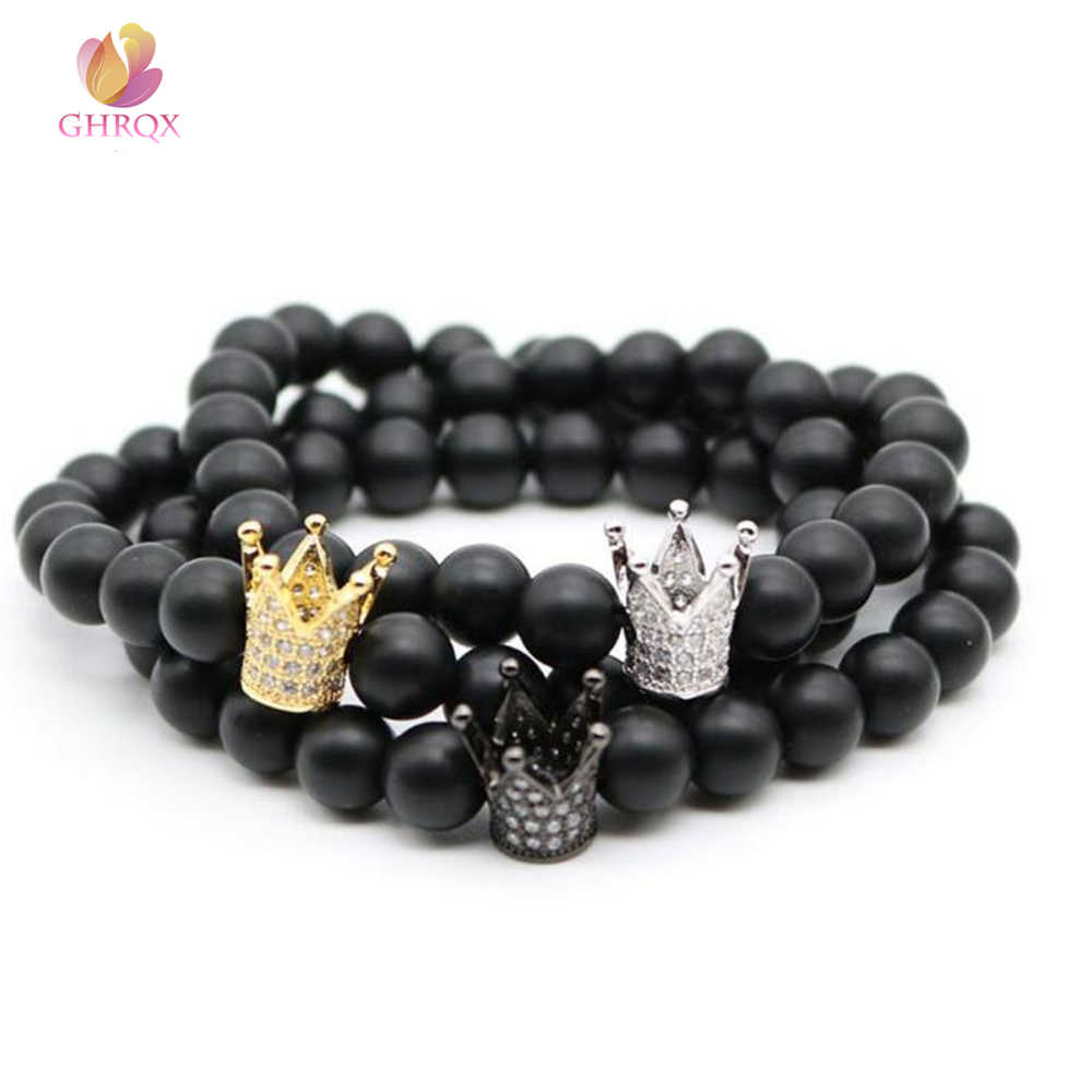 HOT Lava Stone Pave CZ Imperial Crown t Charm Bracelet For Men Or Women Bracelet Jewelry Pulseira hombres