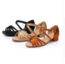 Free Shipping Low Heel Cheap On Sale Satin Women Children Kids Ballroom Salsa shoes Latin Dance Shoes For Girls