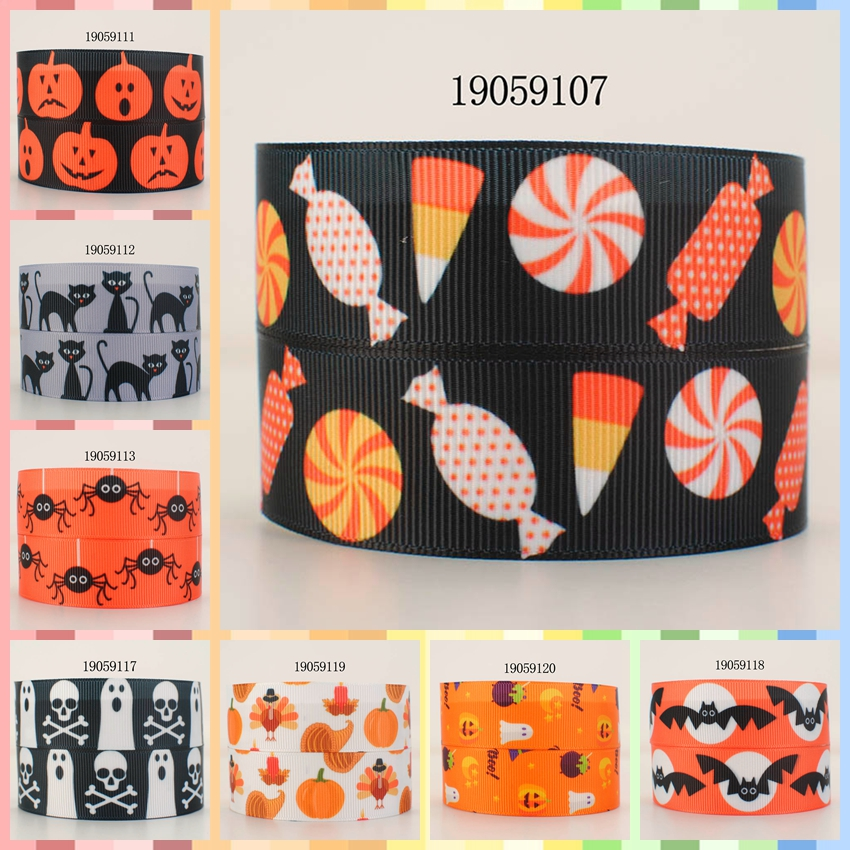 10yards -different sizes -<font><b>Halloween</b></font> Pumpkin pattern <font><b>ribbon</b></font> printed <font><b>Grosgrain</b></font> <font><b>ribbon</b></font> 19059111 image