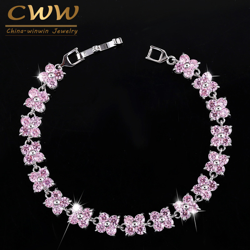CWWZircons Famous Brand Jewelry Luky Pink Cubic Zircon Stones Four Leaves CZ Flower Conn ...