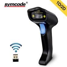 Varredor sem fio do código de barras 2d, symcode 1d/2d leitor handheld sem fio do código de barras 2.4 ghz, distância de transferência sem fio de 200 medidores