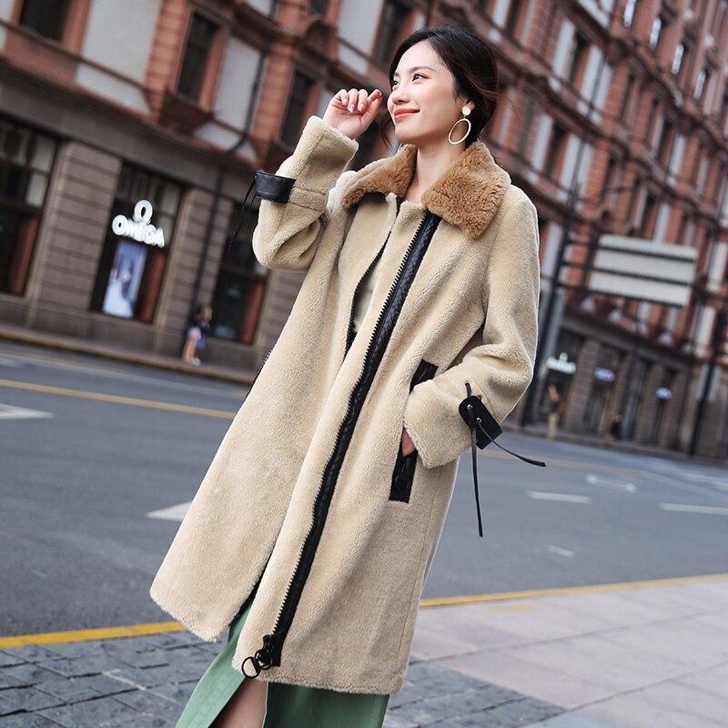 Vêtements Veste Coréen Long Fourrure 2018 Hiver Manteau Automne Manteaux De Mouton Laine Beige Réel Zt1351 Femmes Femme 4wHTqXRWnt