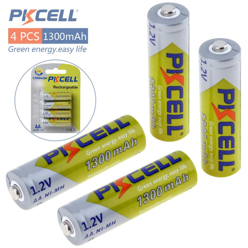 PKCELL 4pcs/set 1.2V AA 1300mAh Ni-MH Rechargeable Battery 2A Batteries for DVD Mp3 Digital Camera fb 1300mah aa 1 2v ni mh rechargeable battery 2 pcs
