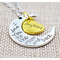 Fashion Family Necklaces Sister Son Daugther I Love You To The Moon and Back Pendant Necklace Heart Moon Charm Necklaces DZXL113