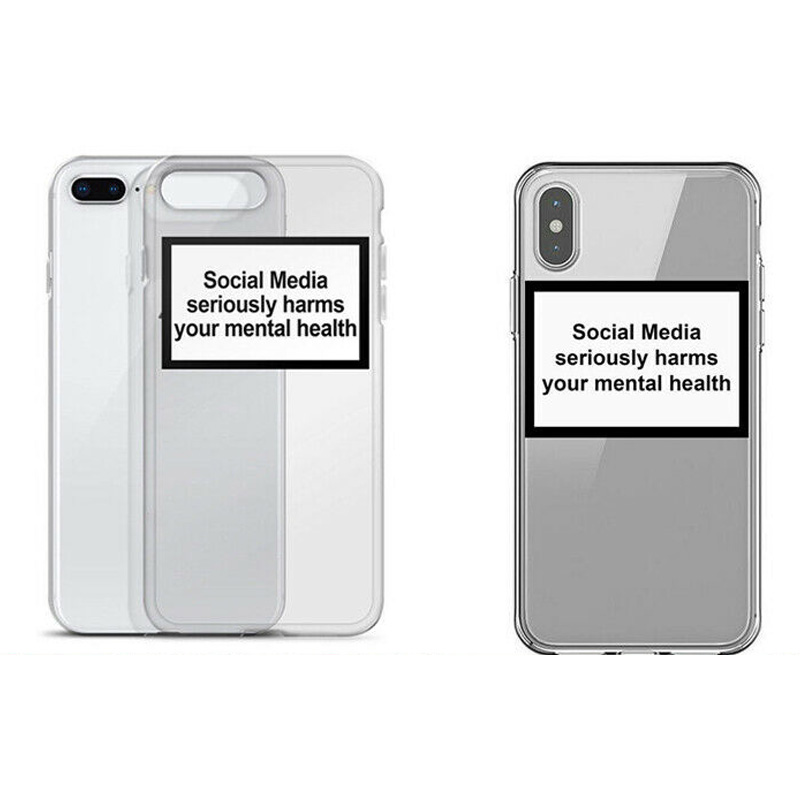 Soft Clear Phone Case Cover Social Media Seriously Harms Your Mental Health for iPhone DJA99 image