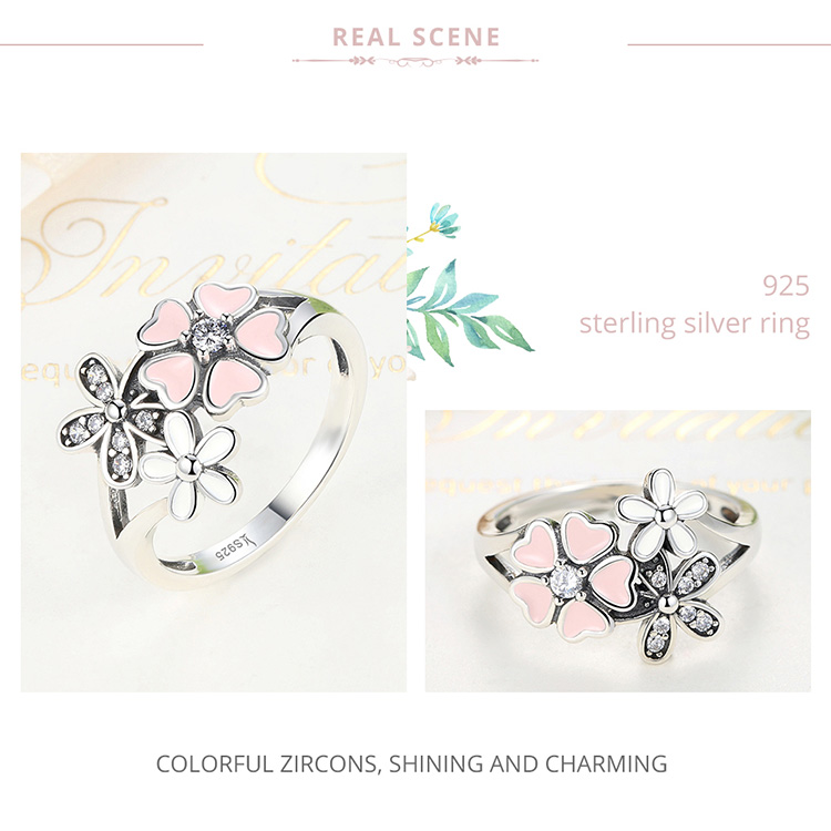 HTB1Yi5JjnTI8KJjSsphq6AFppXap BAMOER Fashion 925 Sterling Silver Pink Flower Poetic Daisy Cherry Blossom Finger Ring for Women #6 7 8 9 Size Jewelry SCR004