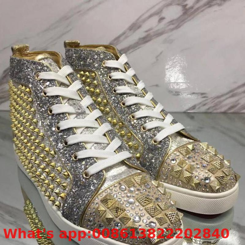 High Cut Leisure Shoes Rivet Beige Rhinestone Blingbling Diamond Red Bottom For Men Shoes Sneakers Leather Flat Loafers(China)