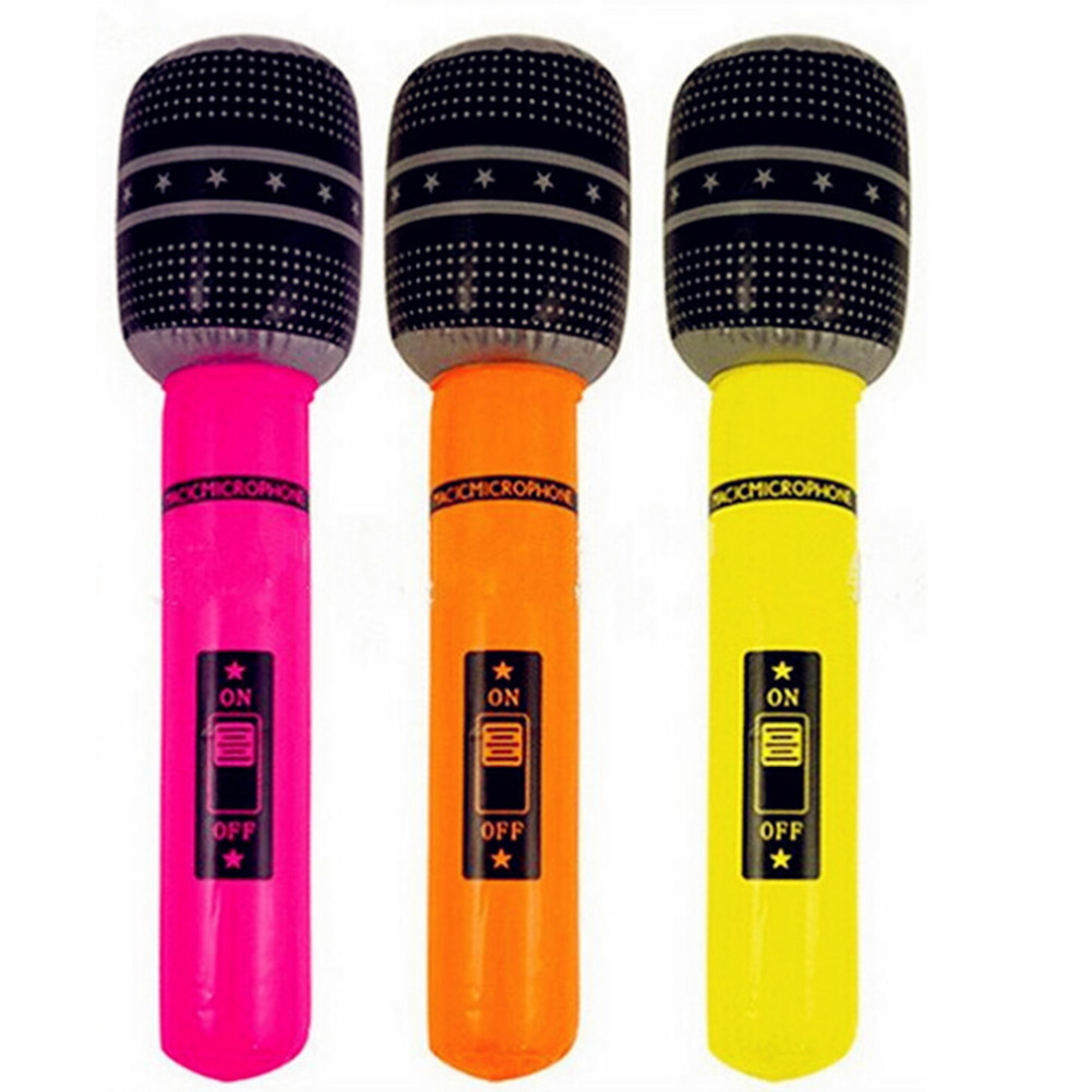 1pc Funny Inflatable Microphone Toy Blow Up Singing Birthday Disco Party Balloon Toys Kids Gift Party Supplies Random Color!!!