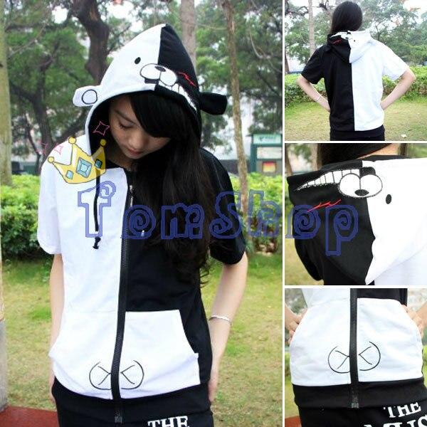 Danganronpa Dangan-ronpa Monokuma Cosplay Short Sleeve Hooded Sweatshirt Unisex Fashion Cartoon Hoodie Tops Shirt Jacket Costume