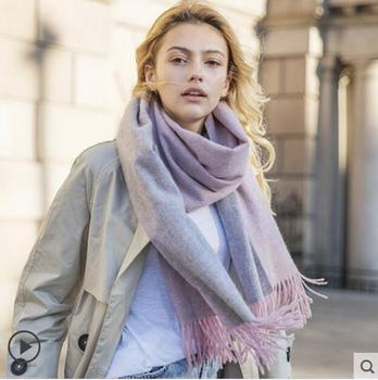 Pashmina Scarf Cashmere Wool Scarf Women Winter Scarfs Double sides Pink Gray Thick High Quality Natural Fabric Free Shipping
