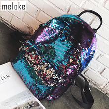 ФОТО 2017 sequins women leather backpacks  bling large size female fashion backpack bag girls school bags travel bags  mn537
