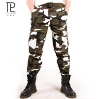 2018 Calças Masculina Camo Jogger Casual 100% Calças de Algodão de Multi Bolso Estilo Militar Camuflagem Do Exército de Carga Calças Cáqui dos homens Pant