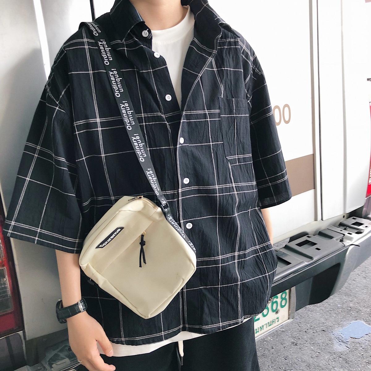 Casual Fashion Cotton Thin Striped Loose Shirt Men 2018 Summer Hong Kong Style Lattice Turn Down Collar Short Sleeve Camisa