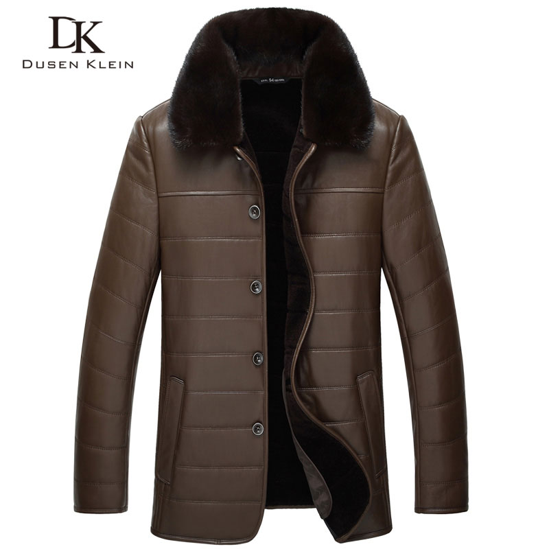 Dusen Klein Wool leather Jacket men Genuine sheepskin mink fur collar Business Style coat Black/Brown 14J8889