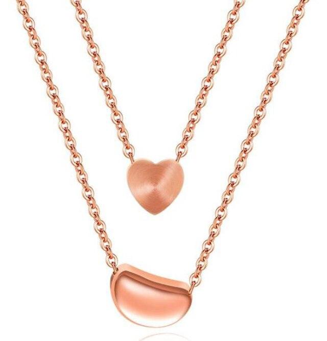 Модные Нержавеющаясталь покрытие из розового золота сердце Для женщин слоистых двойных Цепочки и ожерелья
