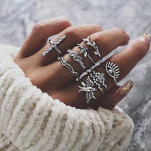 Tocona Punk Metal Silver Cross Cross Bird Crown Turkey Eye Stree Ring Set For Women Retro Inlay Crystal Bee Hip Hop Jewelry 5344(China)