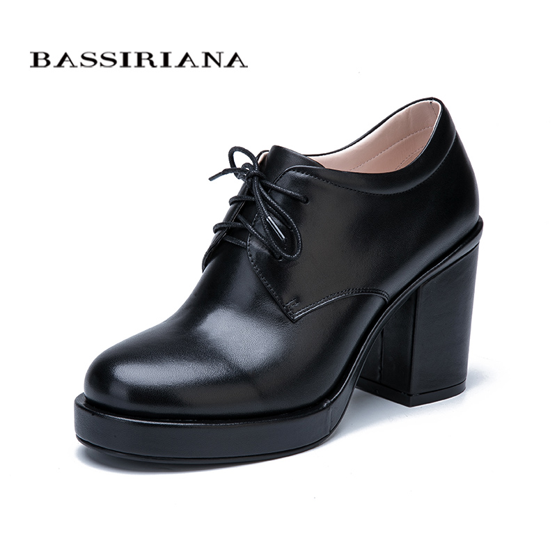 BASSIRIANA New Fashion 2017 Genuine leather suede laces shoes woman ankle boots high heels round toe Autumn 35-40 size black front lace up casual ankle boots autumn vintage brown new booties flat genuine leather suede shoes round toe fall female fashion