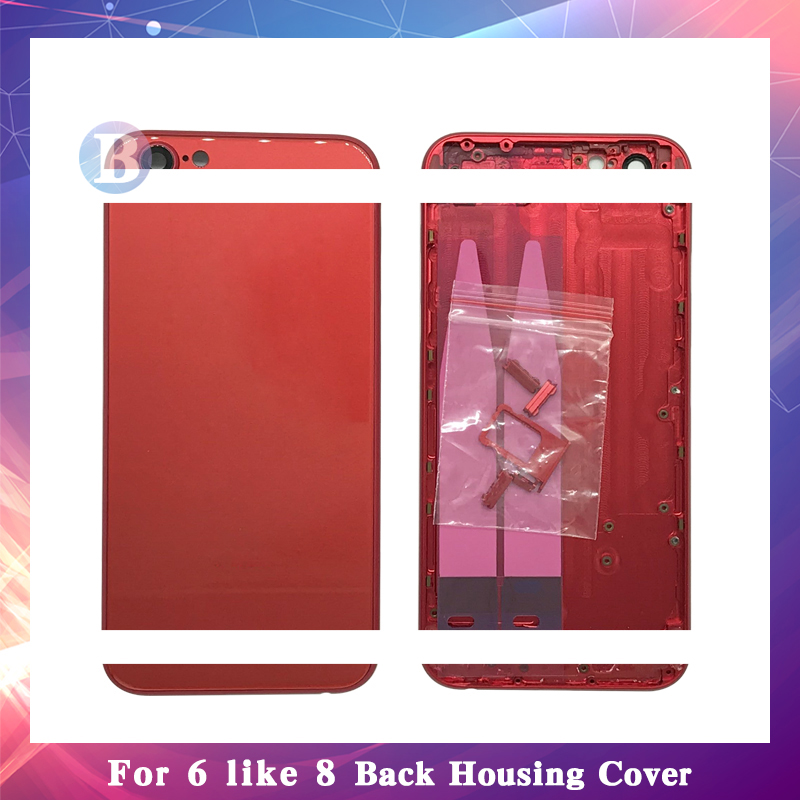 High Quality For iphone 6 6G 6S Like 8 Style Housing Battery Cover Door Rear Chassis Frame Back Cover + Battery stickerHigh Quality For iphone 6 6G 6S Like 8 Style Housing Battery Cover Door Rear Chassis Frame Back Cover + Battery sticker