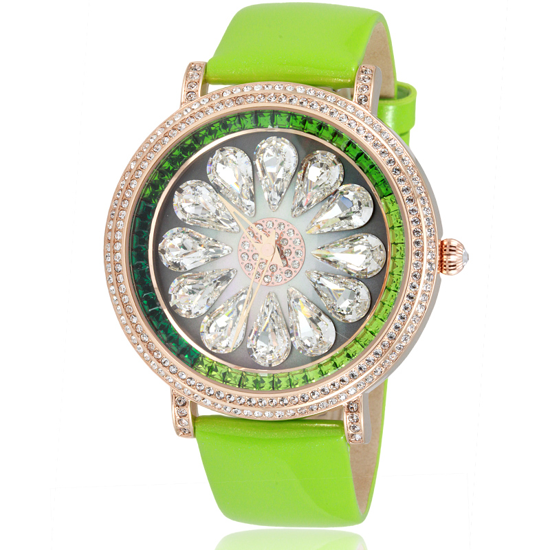 Davena European Big Size Waterdrop Crystals Dress Watches Fashion Women Real Leather Wristwatch Japan Quartz Relojes 3ATM WA068
