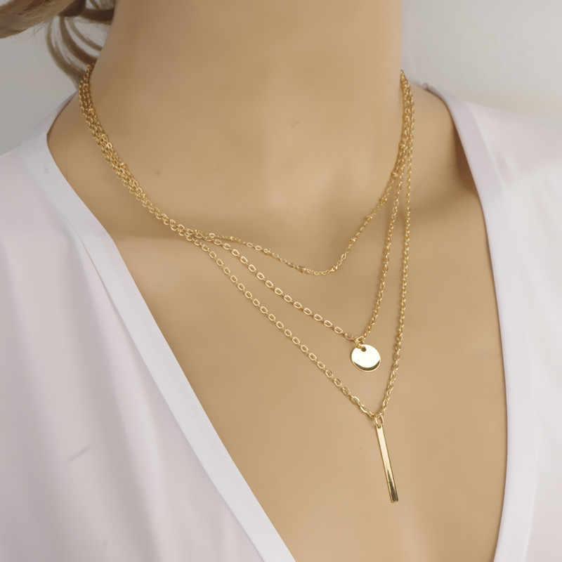 Gorący sprzedawanie 2018 proste warstw Bar monety moda damska biżuteria złoto srebro platerowane naszyjnik na obojczyk wielu łańcuch Alibaba ekspresowe
