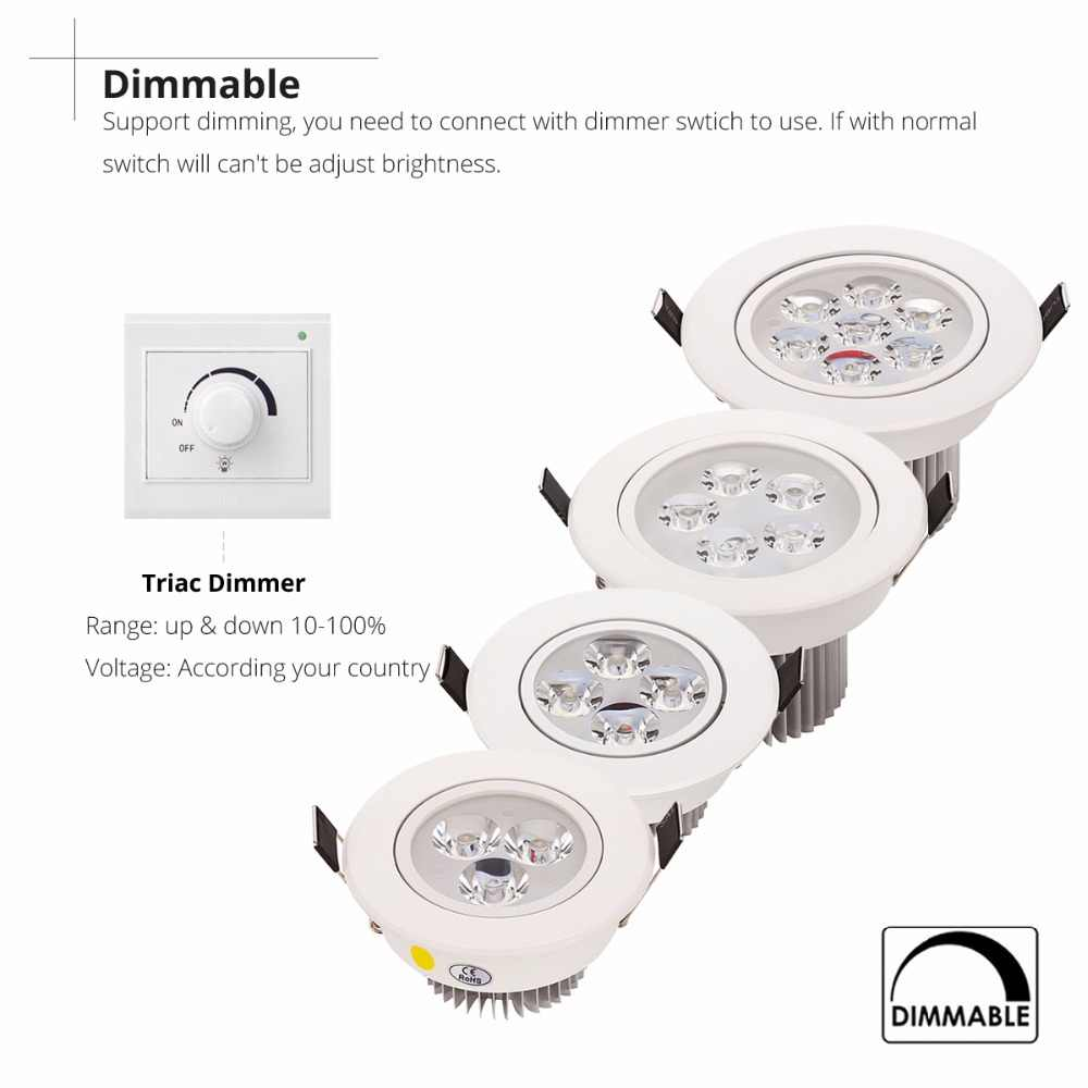 1pcs LED 1W 3W 4W 5W 7W Downlight ที่อยู่อาศัยหรี่แสงได้ธรรมชาติสีขาวโคมไฟ LED โคมไฟปรับ AC110V220V