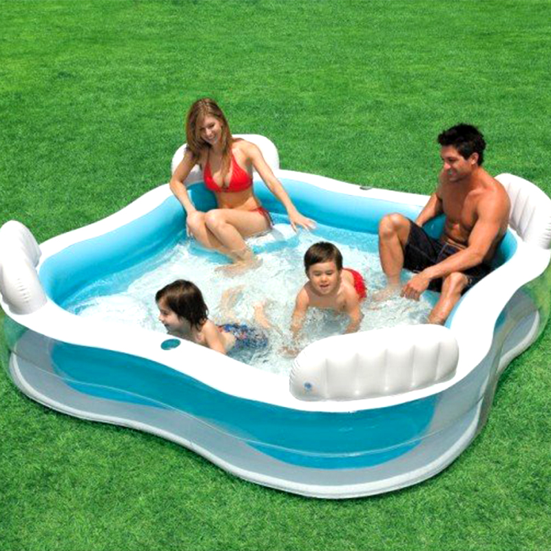 Large Size Family Square Inflatable Swimming Water Pool With Seats Backrest Home Use Parent-child Interaction Playground piscine environmentally friendly pvc inflatable shell water floating row of a variety of swimming pearl shell swimming ring