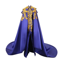 100%real luxury royal blue golden peacock/phoenix golden embroidery beading long cloak with dress gown cosplay/studio/stage