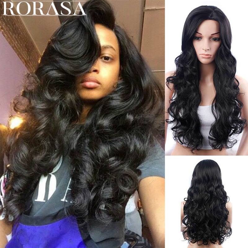 Long Curly Black Hair Big Wavy Oblique Bangs Fluffy Wig Headgear Lace Front Human Hair Wigs For Women Hair Lace Front Bob Wigs long side bang slightly curly lace front synthetic wig