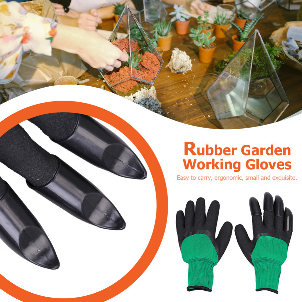 1Pair Garden Gloves With Claw Fingertip ABS Plastic Gloves Quick Excavation Plant For Household Greenhouse Digging Planting