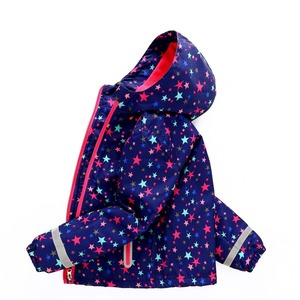 Image 1 - Spring Autumn Waterproof Stars Print Fleece Child Coat Baby Girls Jackets Children Outerwear Kids Outfits For 3 12 Years Old