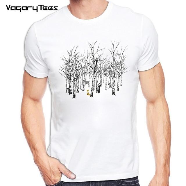 3c020231 Fashion Fox Tree Design Men T shirt Short Sleeve tshirt Hipster Foxes  Cartoon Printed tees Cool