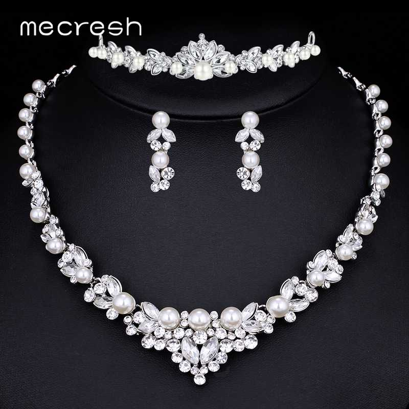 Mecresh Simulated Pearl Bridal Jewelry Sets Silver Color Leaf Crystal Wedding Crown Necklace Earrings Sets Jewelry TL280+HG129
