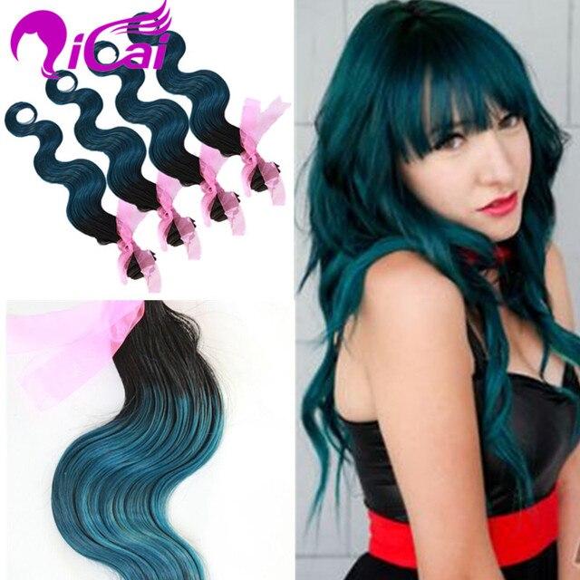 Brazilian Virgin Remy Human Hair Extension Ombre 2 Tone 1bgreen