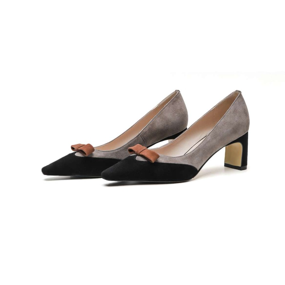 7f14eb9a174b Lady Bout Pompes Sur En Office kaki Taille Mélangées Light Slip Grande  Chaussures Européenne Naturel Papillon Couleurs Grey Carré Cuir ...