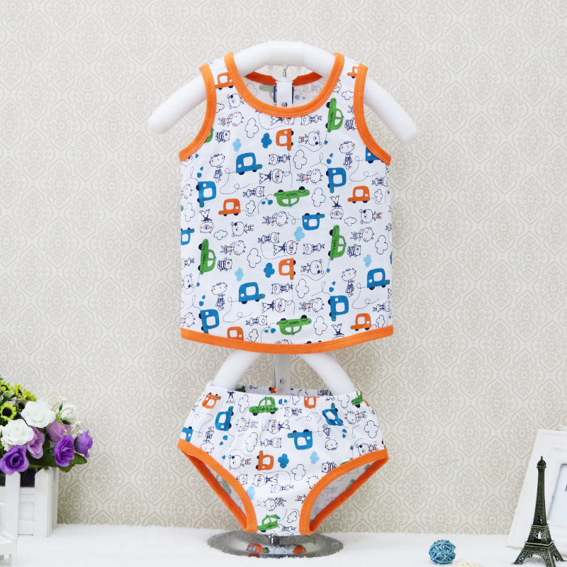 2018 New Style Children Pure 100% Cotton Sleeveless tank tops+underwear 2 pcs/set Boys Clothing Summer Shirts Clothes outfits