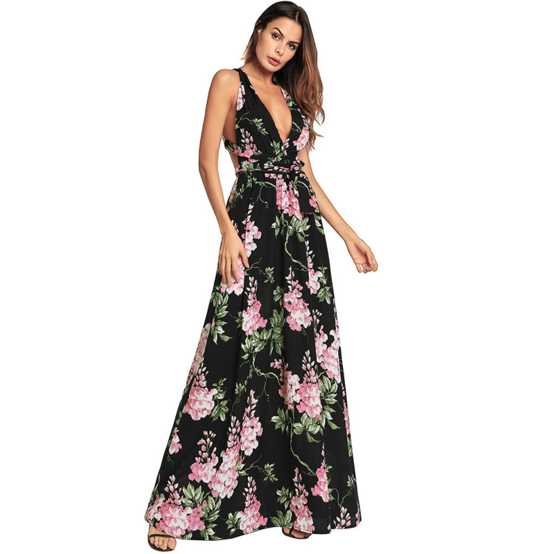 Col Taille Robe Sans Beach Dress Black V Longue Maxi Imprimé Sexy Profond Dames Femme Femmes 2018 Summer Manches Floral Plus La OXnN80wPk