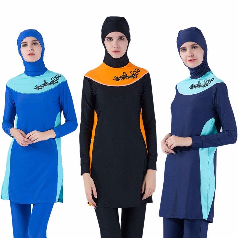 2018 Musulman Maillots De Bain Mayo Femmes Modeste Patchwork Pleine Couverture À Manches Longues Tankini Plus Taille Islamique Hijab Islam Une Modeste Maillot de Bain