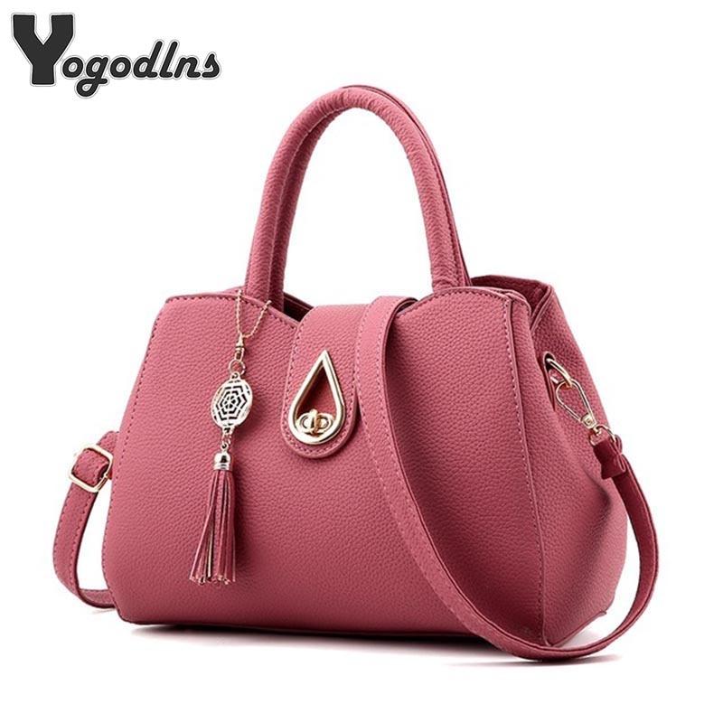 5b360ffdf9b7 Famous Brand Women Bag Top-Handle Bags 2019 Fashion Women Messenger Bags  Handbag Set PU