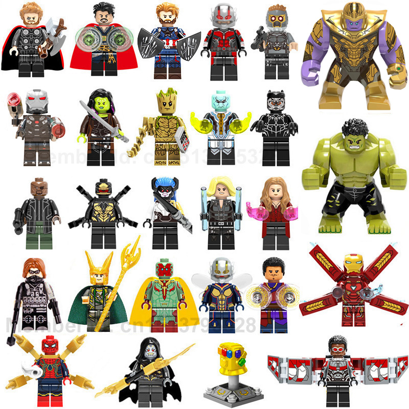 27pcs/lot Super Heroes LEGOED Marvel Thanos Hulk Iron Man Spiderman Building Blocks Kids Toys For Children