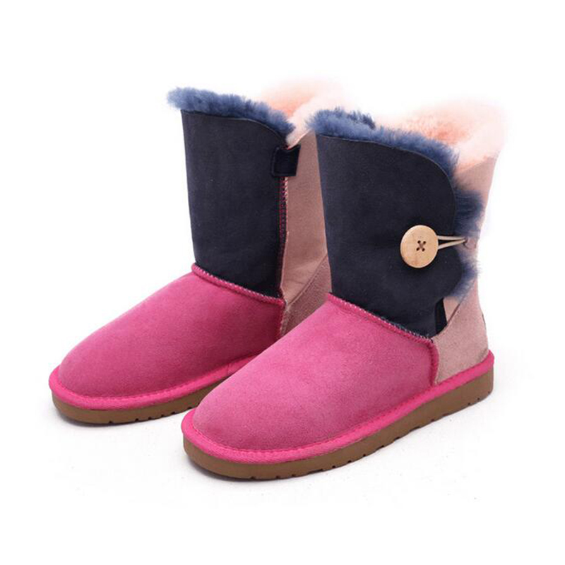 Fashion Spell color Snow boots Women boots 100% Genuine Sheepskin Leather Lace up boots Natural Fur Warm Wool Winter Boots z409 2016 australia fashion women genuine sheepskin leather snow boots 100% natural fur snow boots warm wool winter boots