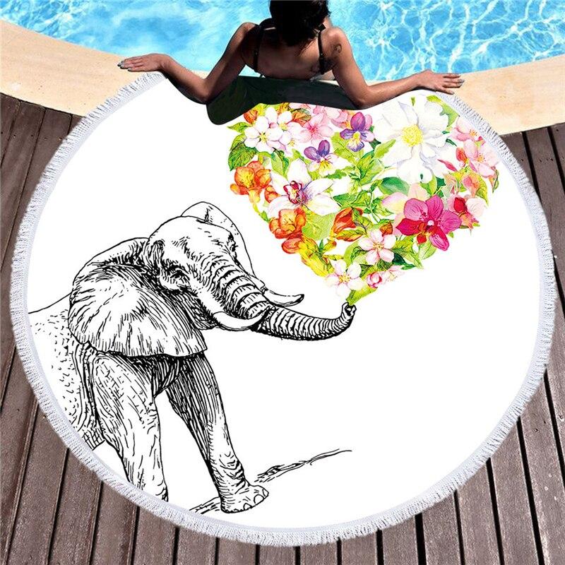 Elephant Printed Microfiber Beach Towel For Adult Yoga Mat Tassel Blanket Large Flamingos Round Towel 150cm Tapestry Home Decor Clocks