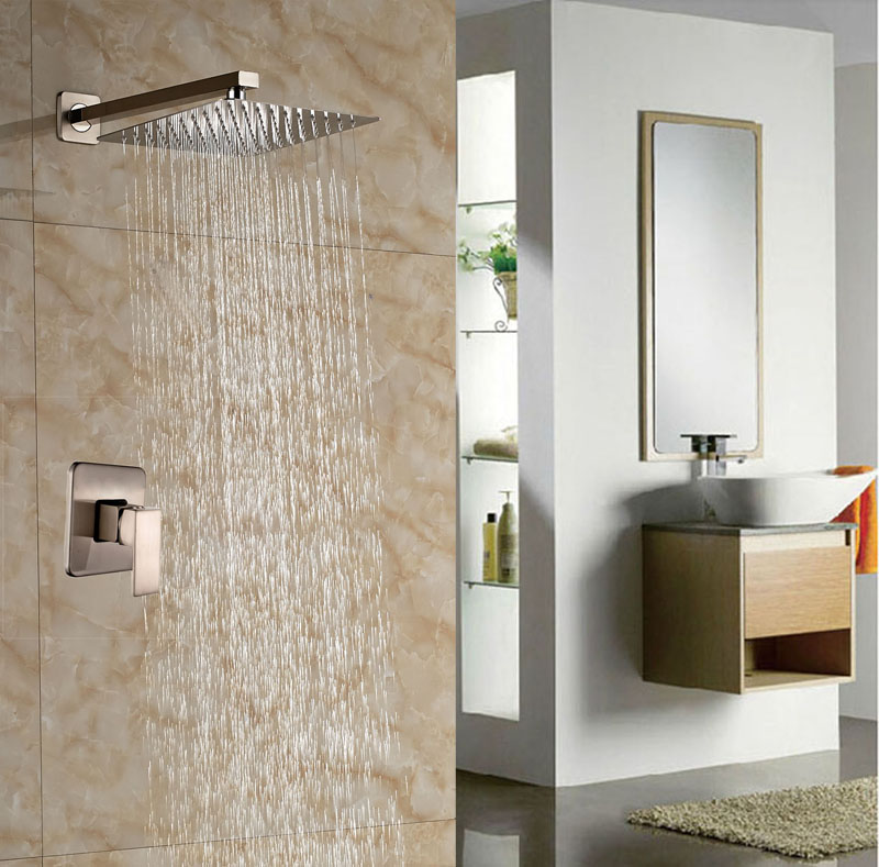 Bathroom 10 Rainfall Shower Set Brushed Nickle Wall Mounted Shower Units Single Lever Mixer Tap free shipping wall mounted brushed nickle led light showerhead with shower arm 8 10 12 inch