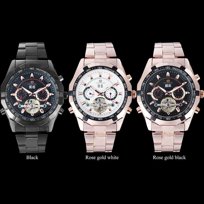 FORSINING hommes Top marque montre de luxe Tourbillon Auto mécanique montres Bracelet en acier inoxydable horloge Relogio Masculino - 6