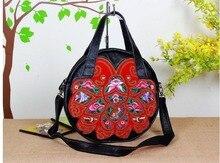 Neue Echtem leder Bestickt umhängetasche schönste tasche casual blume messenger bags shopping mode tasche für frauen