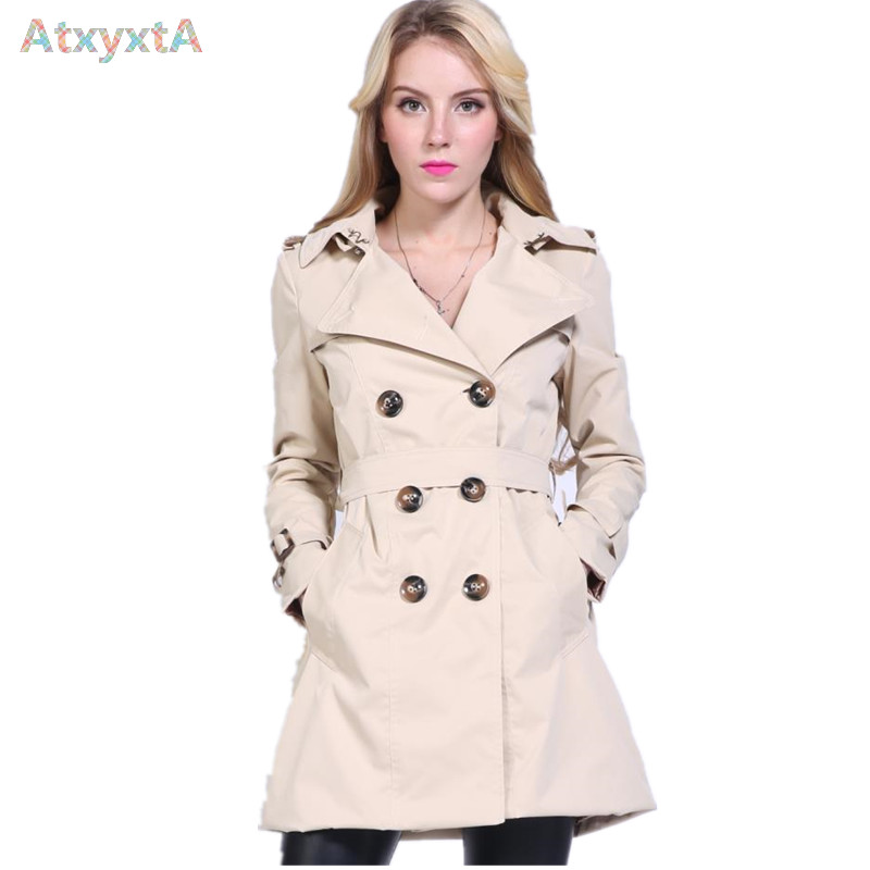 Vintage British Style Fall Hooded Trench Coat Women 2017 Spring Autumn New Designer Fashion
