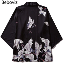 Bebovizi Brand 2019 Man Casual Clothes Japan Style Crane Thin Kimono Men Japanese Summer Streetwear Fashion Robe Jacket