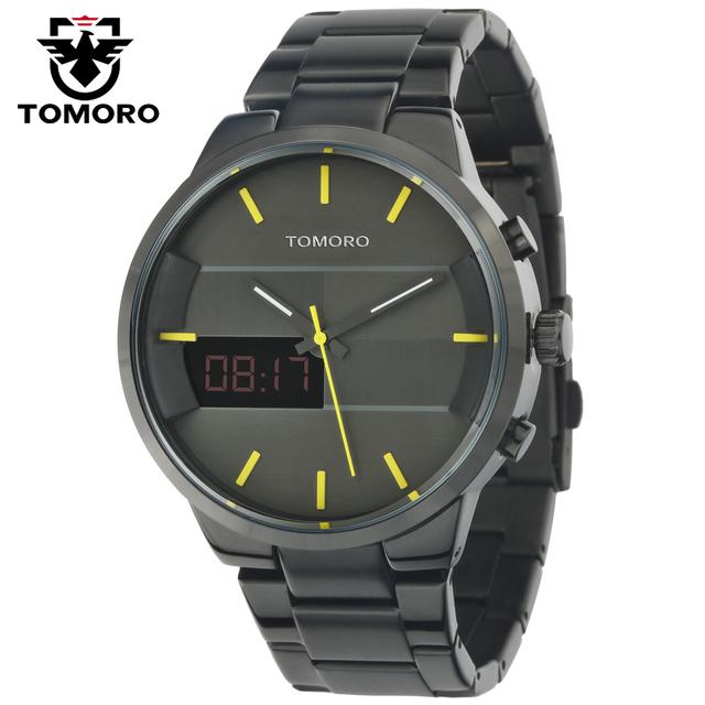Caliente de La Manera Simple Elegante Diseño Horas TOMORO Digital LED Relojes de Primeras marcas de Lujo de Los Hombres Negro Dial Banda de Acero de Cuarzo reloj Reloj