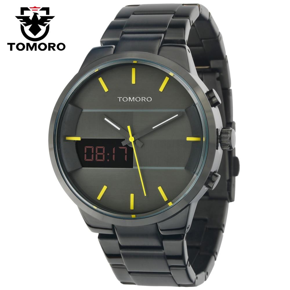 ФОТО Hot Fashion Simple Stylish Design Hours Top Luxury brand TOMORO Digital LED Watches Men Black Steel Band Dial Quartz-watch Clock