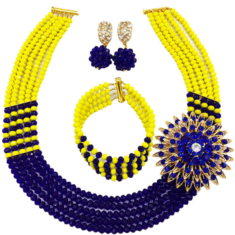 Fashion Royal Blue Yellow African Beads Jewelry Set 5C-SXJB022