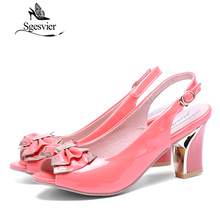 Women Sandals Sexy Thick High Heel Patent leather Open Toe Peep Toes Sweetness Wedding Sandals Shoes Size 34-44 OX006